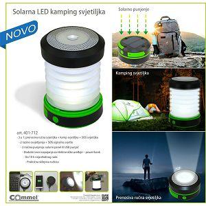 Svjetiljka prijenosna Commel LED solarna kamp 3,7V 800mAh PowerBank